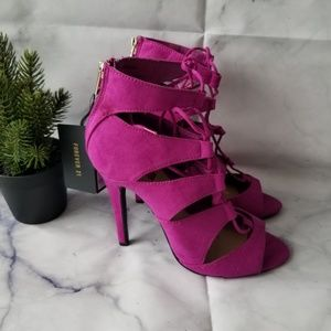 Forever 21 Strappy Fuchsia Lace-Up Heels Sz 7